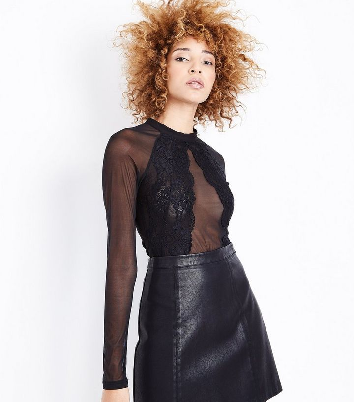 39bc90c4c7ed Pink Vanilla Black Lace Mesh Long Sleeve Bodysuit | New Look