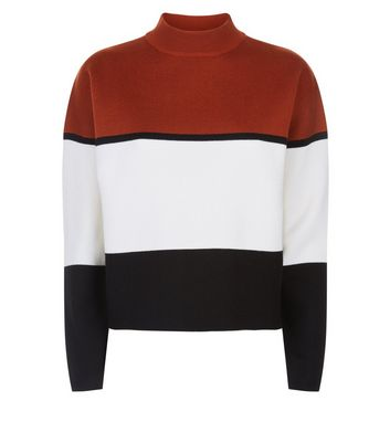 Rust Colour Block Jumper New Look