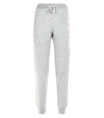 Petite Grey Sunday Slogan Joggers New Look