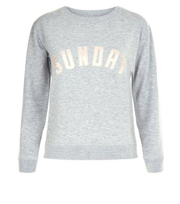 Petite Grey Sunday Applique Lounge Sweatshirt New Look