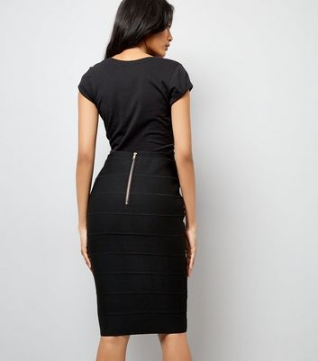 Black Studded Bandage Pencil Skirt New Look
