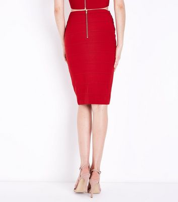 Red Studded Bandage Pencil Skirt New Look