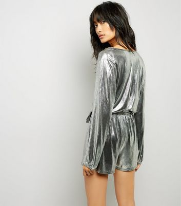 Silver Metallic Wrap Front Playsuit New Look