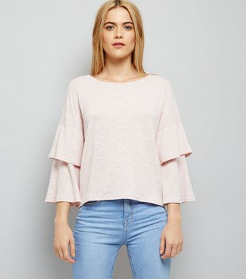 Shell Pink Tiered Sleeve Top New Look