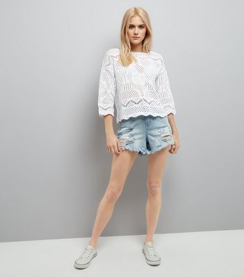 White Crochet Scallop Hem Top New Look