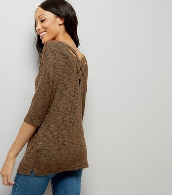 Khaki Fine Knit Lattice Back Top New Look