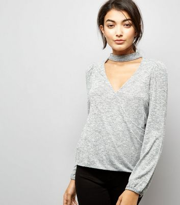 Pale Grey Choker Neck Wrap Front Top New Look