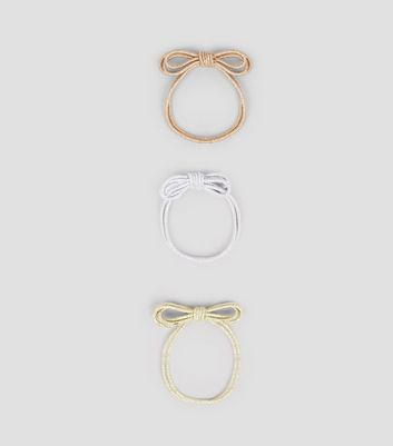 3 Pack Pink  Silver and Gold Metallic Hairbands New Look