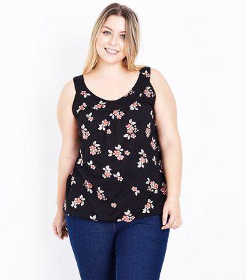 Curves Black Floral Bubble Hem Vest New Look