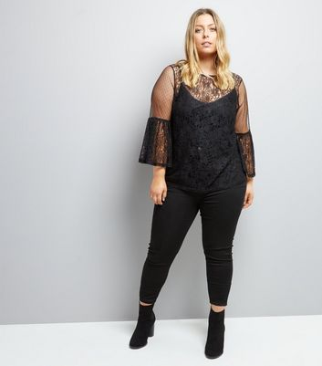 Curves Black Sheer Lace Wide Sleeve Blouse New Look