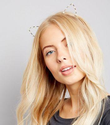 Silver Pearl Cat Ears Headband New Look