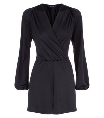 Black Wrap Front Long Sleeve Playsuit New Look