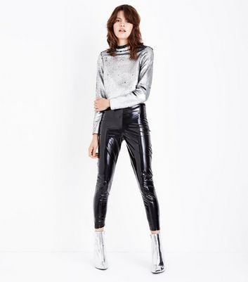 Silver Reversible Sequin Funnel Neck Crop Top New Look