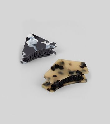 2 Pack Animal and Marble Print Bulldog Clips New Look