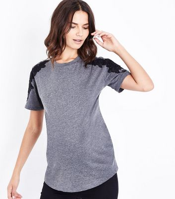 Maternity Dark Grey Applique Shoulder T-Shirt New Look