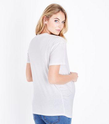 Maternity White Applique Shoulder T-Shirt New Look