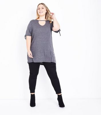 Curves Grey Eyelet Sleeve Longline Top New Look