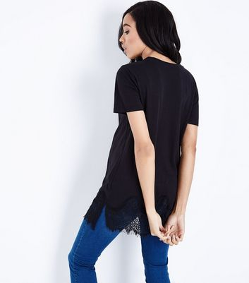 Maternity Black Lace Hem Oversized T-Shirt New Look