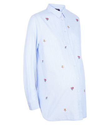 Maternity Blue Floral Embroidered Shirt New Look