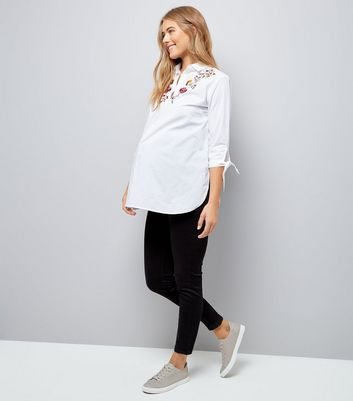Maternity White Floral Embroidered Shirt New Look