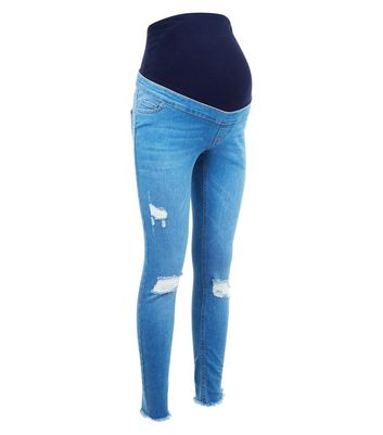 Maternity Bright Blue Under Bump Ripped Jeans New Look
