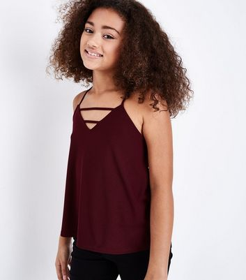 Teens Burgundy Strap Front Cami Top New Look