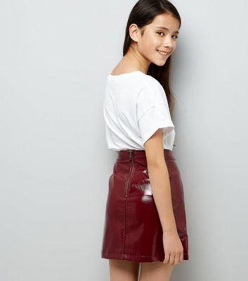 Teens Dark Red Patent Leather-Look Mini Skirt New Look