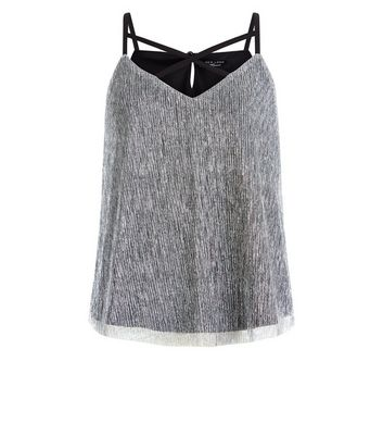 Teens Silver Plisse Crossfront Vest Top New Look