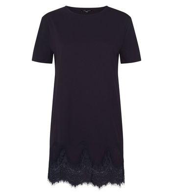 Tall Black Lace Hem Oversized T-Shirt New Look