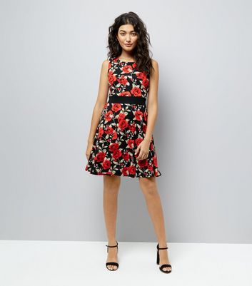 Mela Black Rose Print Skater Dress New Look
