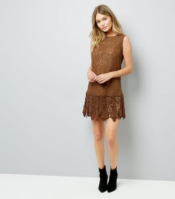 Mela Brown Lace Dress New Look