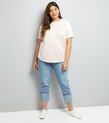 Curves Pink Floral Embroidered T-Shirt New Look