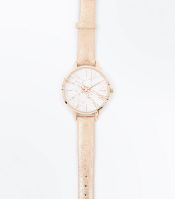 Rose Gold Marble Watch New Look