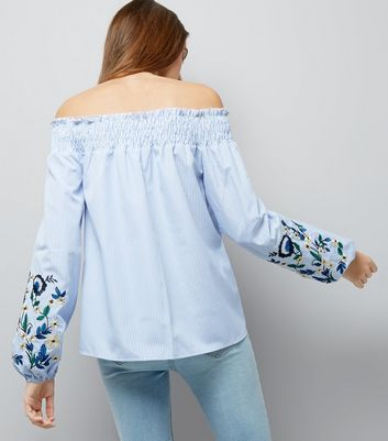 Tall Blue Embroidered Sleeve Bardot Top New Look