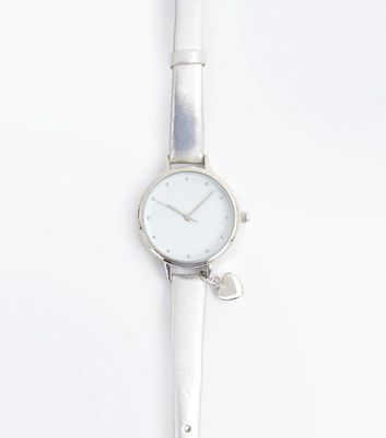 Silver Metallic Heart Charm Strap Watch New Look