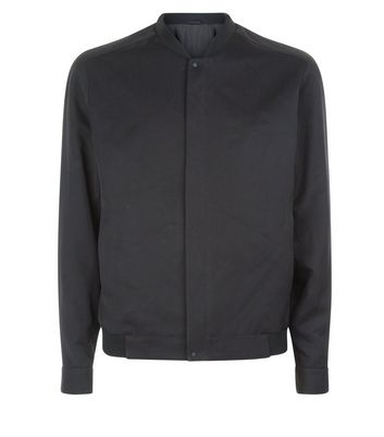 Black Smart Bomber Jacket New Look