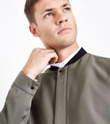 Khaki Smart Bomber Jacket New Look