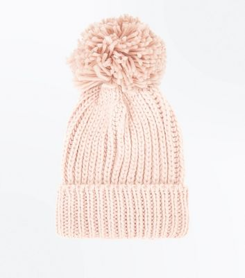 Pink Rib Knit Bobble Hat New Look