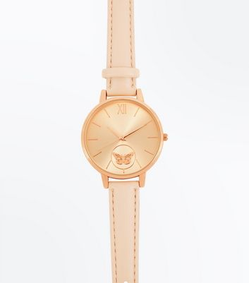 Rose Gold Butterfly Dial Watch New Look