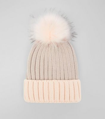 Pink Colour Block Pom Pom Hat New Look