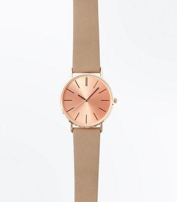 Mink Metallic Dial Watch New Look