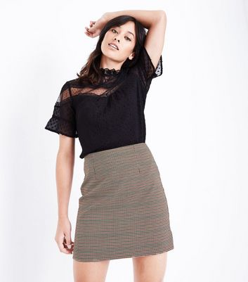 Black Check Mini Skirt New Look
