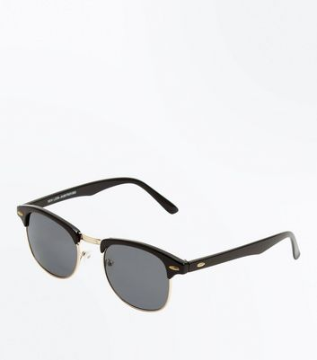 Black Oval Detail Sunglasses New Look