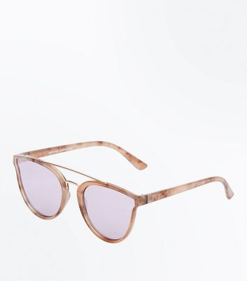 Pink Marble Look Sunglasses New Look