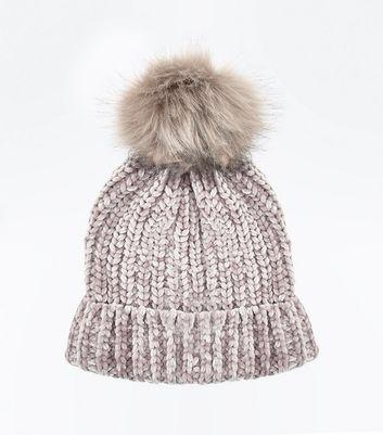 Mink Chenille Knit Faux Fur Pom Pom Hat New Look