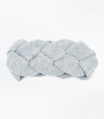 Grey Twisted Knit Headband New Look