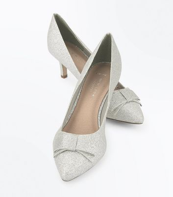 Wide Fit Silver Comfort Glitter Kitten Heels New Look