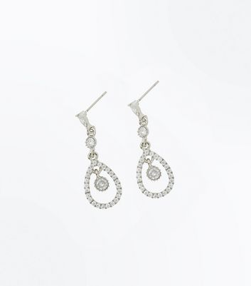 Silver Cubic Zirconia Teardrop Earrings New Look