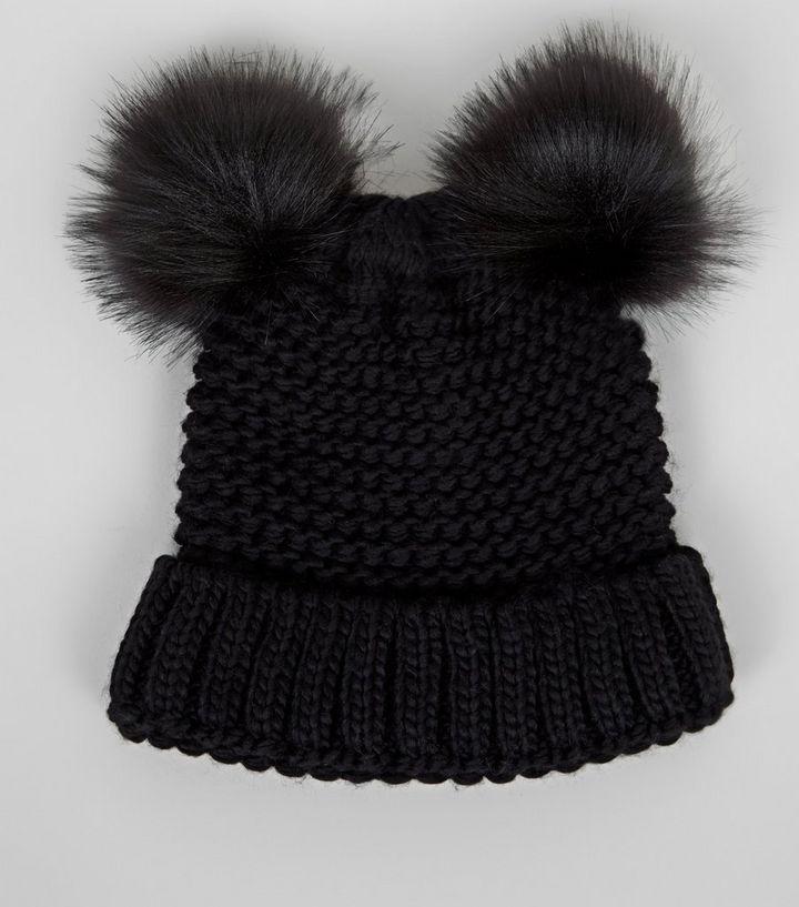 9280b4f0657 Black Double Faux Fur Pom Pom Hat