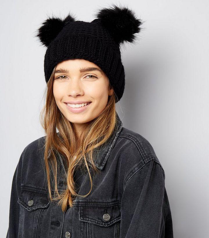 ... Black Double Faux Fur Pom Pom Hat. ×. ×. ×. Shop the look 8bd36c4d8df